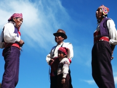 3 men Bolivia lake Taquille